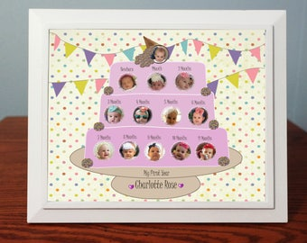 Customized Babys First Year Photo Gift  Babys 12 Month Pictures   Digital Designs 8x 10 Baby Photo Gift & Frame