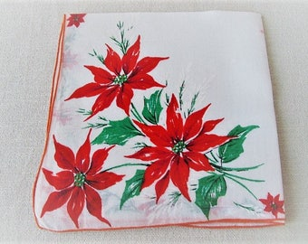 Vintage Christmas Handkerchief, Ladies Cotton Linen Hankie with Poinsettias, Vintage Tea Napkin, Vintage Gift Wrap, ECS, FREE Shipping