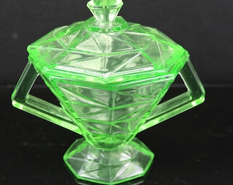 Indiana, Cracked Ice Green Sugar Dish with Lid (as is)