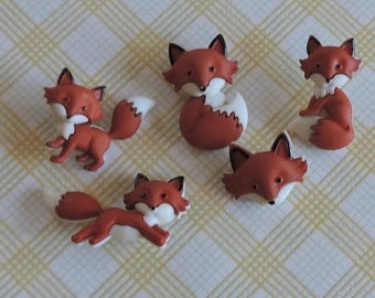 "4th SALE Fox Buttons, ""Outfoxed"" Packaged Novelty Button Assortment by Dress It Up, Jesse James, Shank Back Buttons, Embellishments"