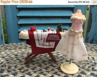 SALE Miniature Dress Form With Fancy Dress, by Reutter, Dollhouse Miniature, 1:12 Scale, Dollhouse Sewing, Crafts, Accessory, Dollhouse Deco