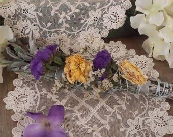 White Sage, Lemongrass, Yellow Roses, & Wild Flowers Smudging Stick