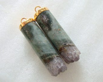 One Pair Amethyst Cylinder Pendant Earrings Pair, Gorgeous Green and Purple, Gold Electroplated, J18