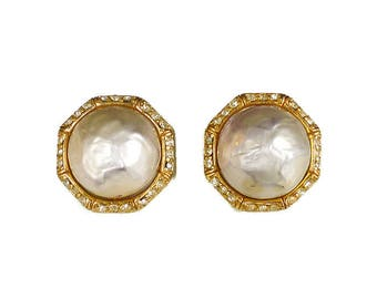 Ciner Pearl Rhinestone Earrings - Baroque Pearl, Gold Tone, Clip On, Designer Earrings, Vintage Earrings, Vintage Jewelry