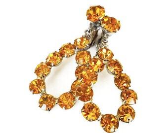 Vintage Amber Rhinestone Dangle Earrings, Silver Tone, Chandelier Earrings, Vintage Earrings, Vintage Jewelry