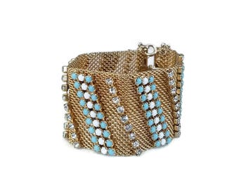 Hobe Mesh Rhinestone Bracelet - Gold Plated, Wide Chunky Bracelet, Statement Bracelet, Blue White Clear Rhinestones, Rhinestone Bracelet