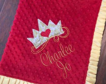 Princess Baby Blanket- Crown Baby Blanket - Minky Baby Blanket- Gold Blanket- Damask Baby Bedding