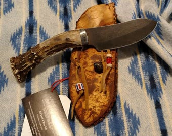 Hand Made Mountain Man Nessmuk Knife in Rawhide Sheath