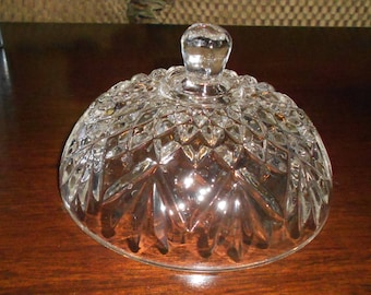 Vintage Round, Crystal Candy Dish Lid, This is only the lid!, Replacement Piece, Starburst and Diamond Pattern