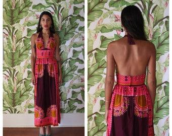 1970's Halter Dress / Batik Indian Print / Festival Maxi Gown / Sexy Late Seventies / Magenta Orange and Purple / Haute Hippie Boho Dress
