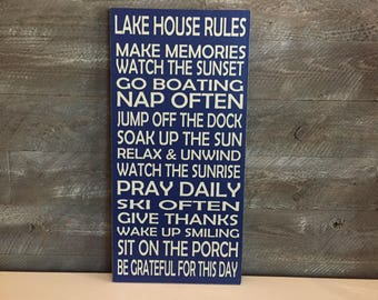 Lake House Decor ~ Lake House Rules ~ Custom Lake House Signs ~ Lakehouse Rules Sign ~ Lake House Gifts ~ Vacation Home Sign ~ Wood Signs