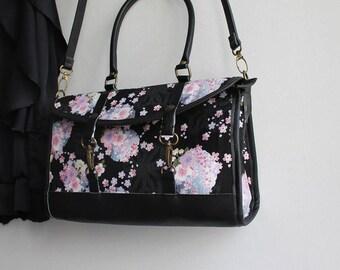 Satchel crossbody bag - zipper closure - black white blue pink - Mina