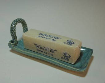 Frosty Aqua Stick Butter Serving Tray with Textured Handle