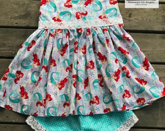 Disney ariel little mermaid top and shorts set, girls top and shorts, baby outfit, toddler outfit, swing top, summer outfit, party dress