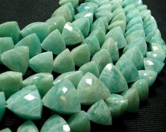 ON SALE Amazonite Trillion Beads Briolettes Triangles Pyramids Trilliants Earth Mined Gemstone - 4 Inch Strand - 7x7mm to 10x10mm Choose siz