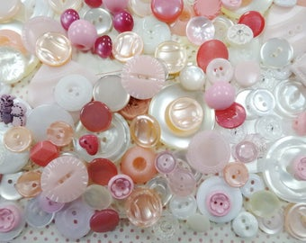 Big Batch Shades of Pink Mix Sewing Buttons Embellishments Findings Plastic Craft Seamstress Notions Lot