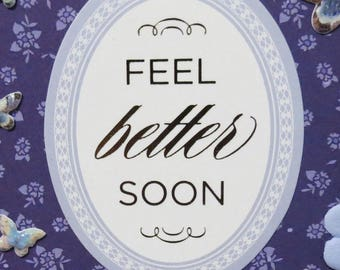 Get Well Card, Handmade, Feel Better Soon, Blue and White, Flowers and Butterflies