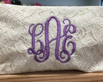 Monogrammed Bridesmaid Gift Clutch Lace Bridal Pouch Free Monogram Bachelorette Favors Mother of the Bride Mother of the Groom Flower Girl