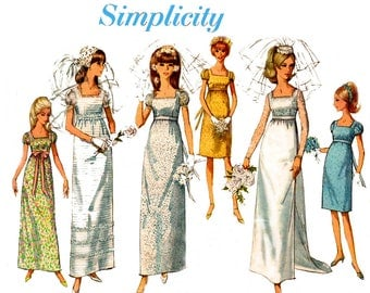 Simplicity 6759 Womens Wedding or Bridesmaids Dress & Lace Jacket 60s Vintage Sewing Pattern Size 14 Bust 34 inches