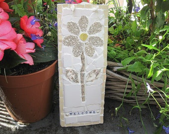 Shabby chic flower mosaic plaque - Welcome