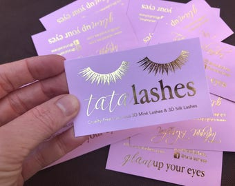 Blush Pink Business Cards with Gold Foil Accents - custom business cards for lash artist, nail artist, hair stylist, makeup artist+ more