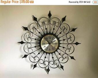 "Vintage 1960's Metal 25"" Starburst / Sunburst Wall Clock by Welby - Needs New Clock Motor"