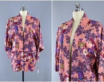 Vintage Silk Kimono Jacket / Kimono Cardigan / Vintage Haori Jacket / Short Kimono Robe / Silk Kimono Robe / Pink Floral Print