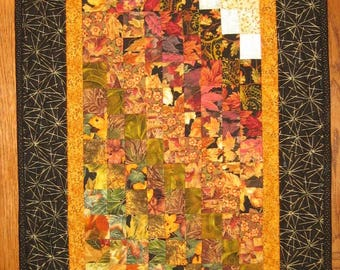 """Earth Tones Contemporary Art Quilt Fabric Wall Hanging Textile Abstract 19 x 42"""" Home Office Decor Handmade Free Shipping"""