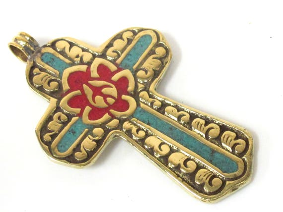 1 Pendant - Reversible Tibetan solid Brass cross pendant with lotus floral carving turquoise coral  inlay - PM564D