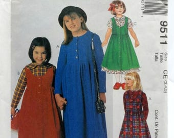ON SALE McCall's 9511, Girls' Dress and Jumper Pattern, Sewing Pattern, Size 3 thru 5, Uncut