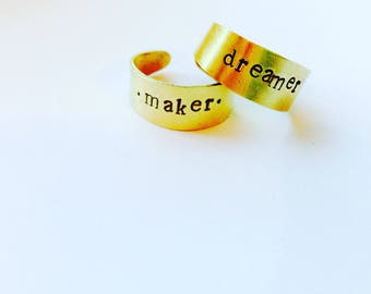 Raw Brass Hand Stamped & Crafted Ring