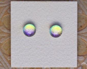 Dichroic Glass Earrings , Golden Orchid   DGE-1175