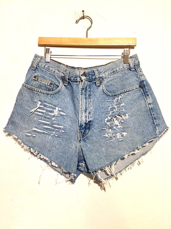 90s  High Rise Distressed Cut Off Denim Shorts