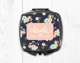 Bride Gift from Maid of Honor Bride Gift from Sister Wedding Party Gifts Wedding Party Favors Bride Compact Mirror Pink Floral nvywed1