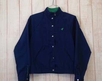 Vintage 80s Wrangler Navy Blue And Green Cropped Button Front Thin Jacket Ladies M