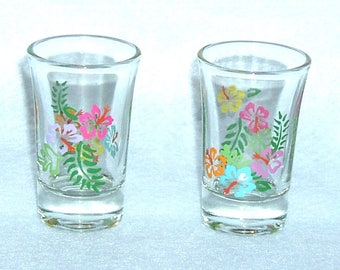Tropical / Hibiscus Shot Glasses Hand Painted - Set of 4