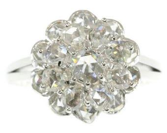 Diamond Ring, Rose cut diamond cluster ring 18k white gold engagement ring vintage cluster diamond ring