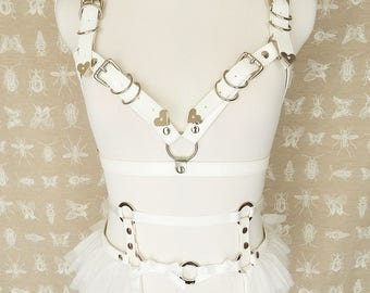 White Faux Leather Cage Body Harness Set, White Cage Harness Set, Faux Leather Cage Harness Set, Burlesque Harness Set, BDSM Harness Set