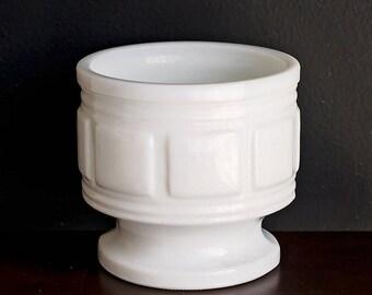Milk Glass Vase  Planter or Candle Holder Geometric Square Pattern