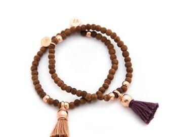 SALE Rosewood with rose gold tassel bracelet - tassel bracelet