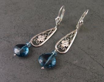 London blue topaz sterling silver earrings, handmade silver jewelry-OOAK December birthstone