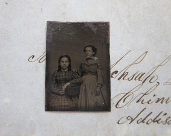 antique GEM tintype photo - miniature tintype photo - two girls - gft28