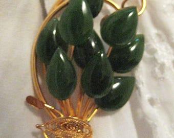 green jade and gold filled filigree brooch