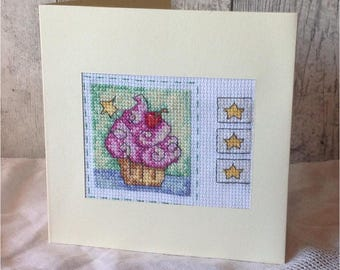 Happy Birthday Cupcake Cross Stitched Card