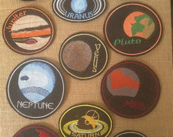 astronaut, engineer, space lovers embroidered iron on patches solar system set