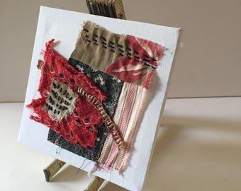Fabric Collage - Small Art - Fibre Art Stitch Meditation - Hand Stitching - Slow Stitch