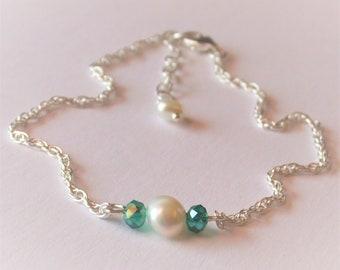Emerald and Pearl Bridal Anklet, Sterling Silver Chain Anklet, Green Ankle Bracelet, Genuine Pearl Anklet, Adjustable Anklet, Gift for Her