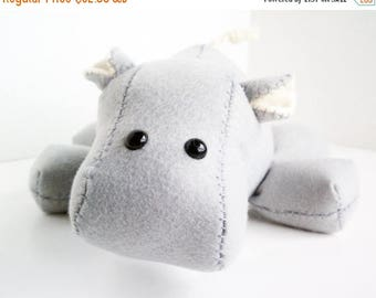 ON SALE Hippo stuffed animal- Light grey/gray and cream