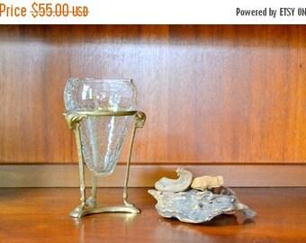 SALE 25% OFF vintage brass ram floating glass vase / hollywood regency decor / mid century brass planter