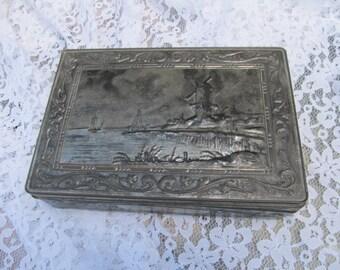 Antique/Vintage Silver Repousse Tin Storage Box-Signed Dutch Holland